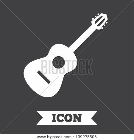 Acoustic guitar sign icon. Music symbol. Graphic design element. Flat guitar symbol on dark background. Vector