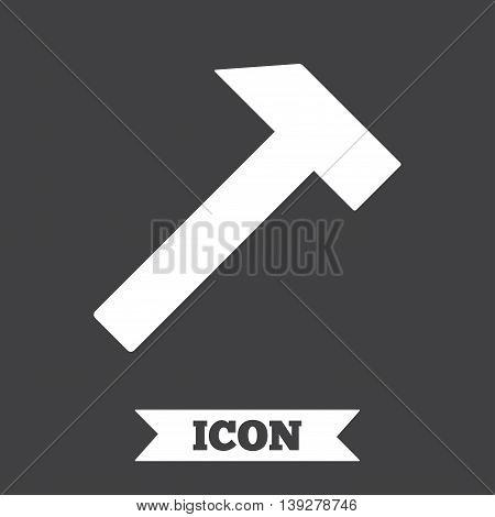 Hammer sign icon. Repair service symbol. Graphic design element. Flat hammer symbol on dark background. Vector
