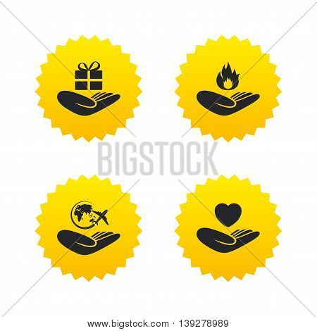 Helping hands icons. Health and travel trip insurance symbols. Gift present box sign. Fire protection. Yellow stars labels with flat icons. Vector