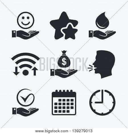 Smile and hand icon. Water drop and Tick or Check symbol. Palm holds Dollar money bag. Wifi internet, favorite stars, calendar and clock. Talking head. Vector