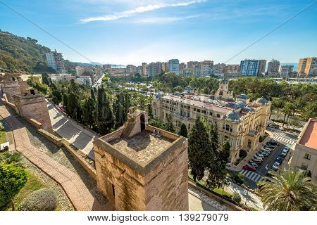 Aerial view at Alcazaba in Malaga, the best preserved Moorish fortress palace in Andalusia, Spain.