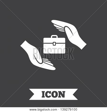 Baggage insurance sign icon. Travel luggage symbol. Travel insurance. Graphic design element. Flat baggage symbol on dark background. Vector