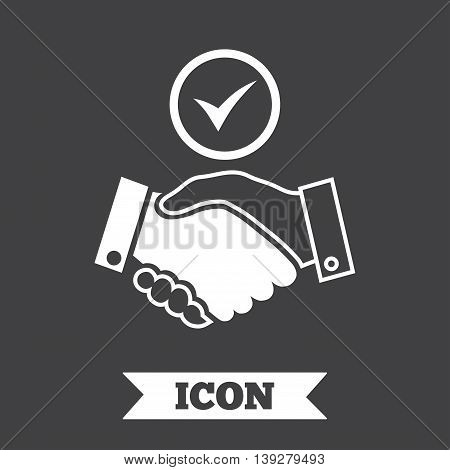 Tick handshake sign icon. Successful business with check mark symbol. Graphic design element. Flat handshake symbol on dark background. Vector