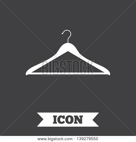 Hanger sign icon. Cloakroom symbol. Graphic design element. Flat hanger symbol on dark background. Vector