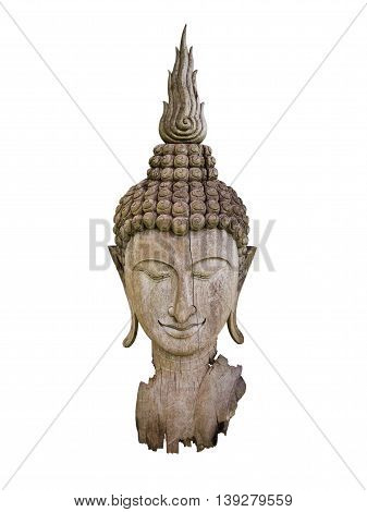 Ancient cracked and burned wooden Buddha statue head isolate on white background with clipping path