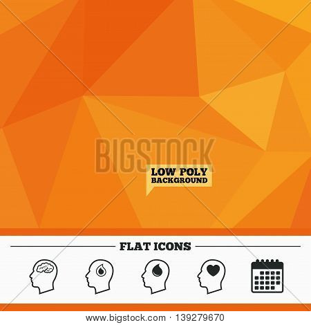 Triangular low poly orange background. Head with brain icon. Male human think symbols. Blood drop donation sign. Love heart. Calendar flat icon. Vector