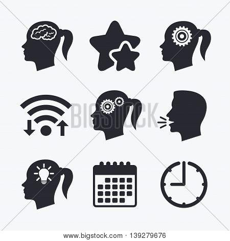 Head with brain and idea lamp bulb icons. Female woman think symbols. Cogwheel gears signs. Wifi internet, favorite stars, calendar and clock. Talking head. Vector