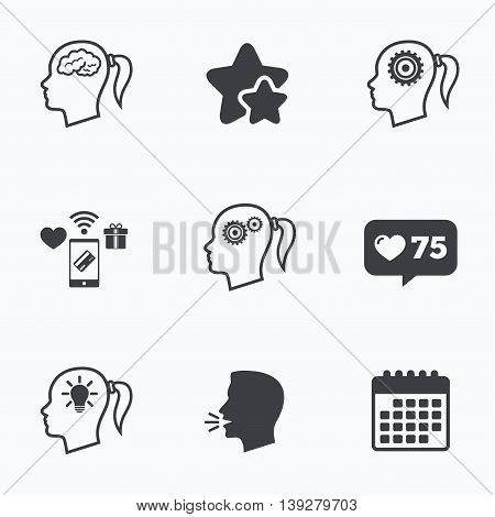 Head with brain and idea lamp bulb icons. Female woman think symbols. Cogwheel gears signs. Flat talking head, calendar icons. Stars, like counter icons. Vector