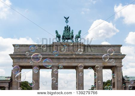 Berlin Symbol, Brenadenburg Gate  Behind Soap Bubbles