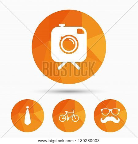 Hipster photo camera with mustache icon. Glasses and tie symbols. Bicycle family vehicle sign. Triangular low poly buttons with shadow. Vector
