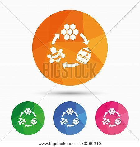 Producing honey and beeswax sign icon. Honeycomb cells symbol. Honey in pot. Sweet natural food cycle in nature. Triangular low poly button with flat icon. Vector