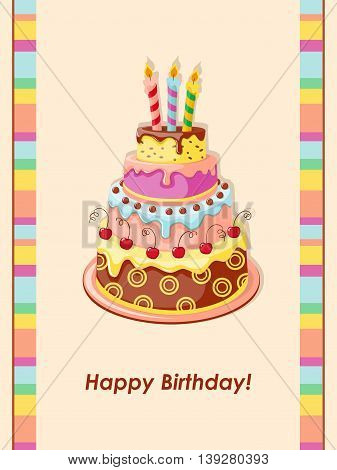 Festive colorful birthday card with cake tier candles and cherry on the vintage background. eps10.