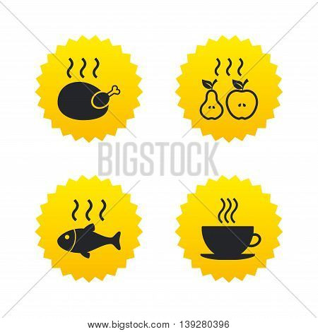 Hot food icons. Grill chicken and fish symbols. Hot coffee cup sign. Cook or fry apple and pear fruits. Yellow stars labels with flat icons. Vector