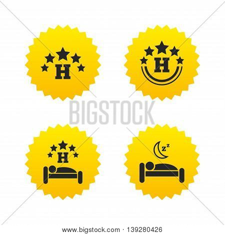 Five stars hotel icons. Travel rest place symbols. Human sleep in bed sign. Yellow stars labels with flat icons. Vector