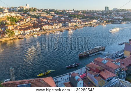 PORTO, PORTUGAL - NOV 14, 2016: View of the Douro river and Ribeira in the historic centre of City. Porto won the European Best Destination 2012 and 2014 awards.