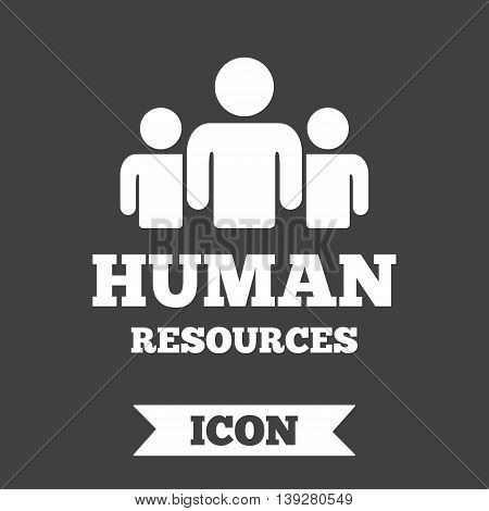 Human resources sign icon. HR symbol. Workforce of business organization. Group of people. Graphic design element. Flat human resources symbol on dark background. Vector
