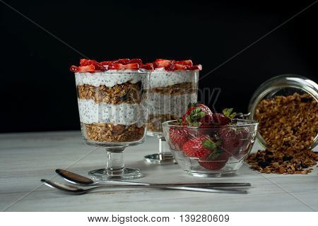 Healthy breakfast for two person muesli strawberry yogurt and chia seeds