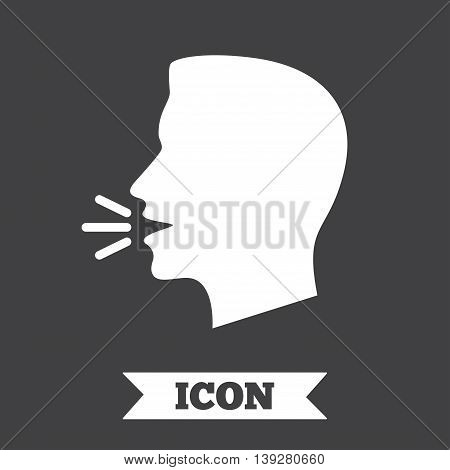 Talk or speak icon. Loud noise symbol. Human talking sign. Graphic design element. Flat speak symbol on dark background. Vector
