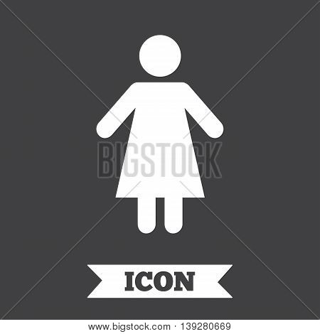 Female sign icon. Woman human symbol. Women toilet. Graphic design element. Flat woman symbol on dark background. Vector