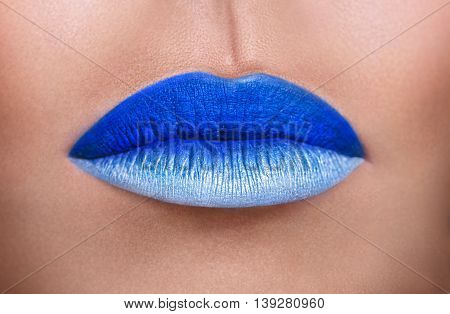Lips With Make Up Closeup