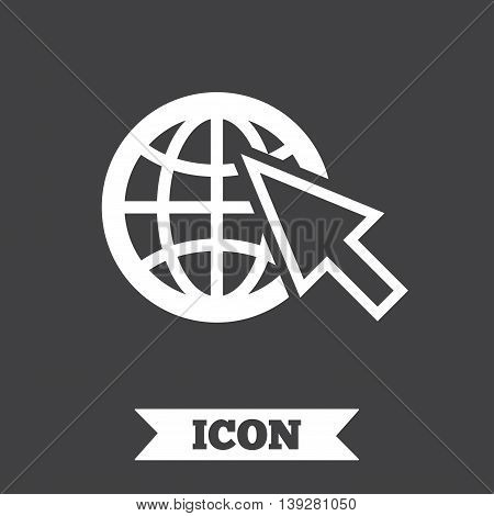 Internet sign icon. World wide web symbol. Cursor pointer. Graphic design element. Flat internet symbol on dark background. Vector