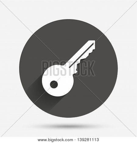 Key sign icon. Unlock tool symbol. Circle flat button with shadow. Vector