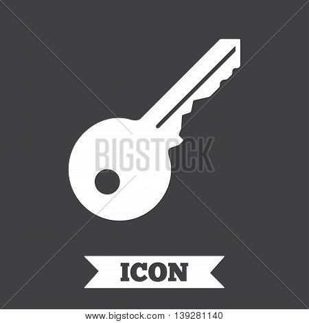 Key sign icon. Unlock tool symbol. Graphic design element. Flat key symbol on dark background. Vector