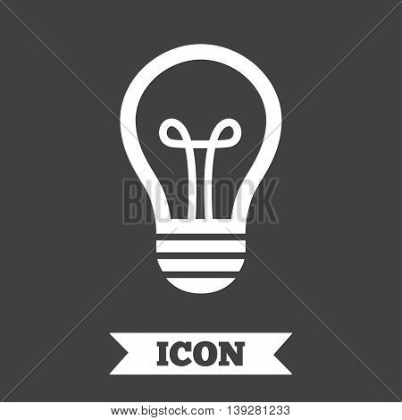 Light lamp sign icon. Idea symbol. Graphic design element. Flat lamp symbol on dark background. Vector