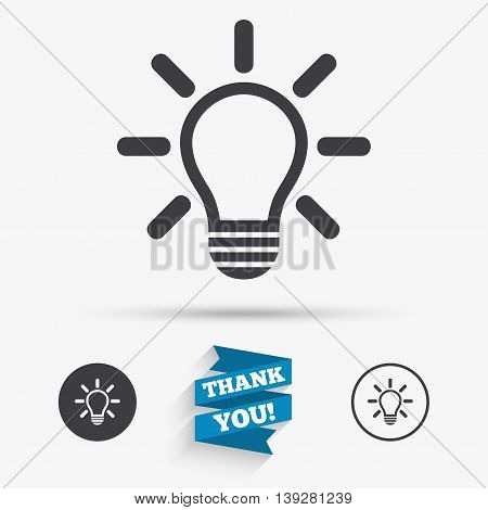 Light lamp sign icon. Idea symbol. Light is on. Flat icons. Buttons with icons. Thank you ribbon. Vector