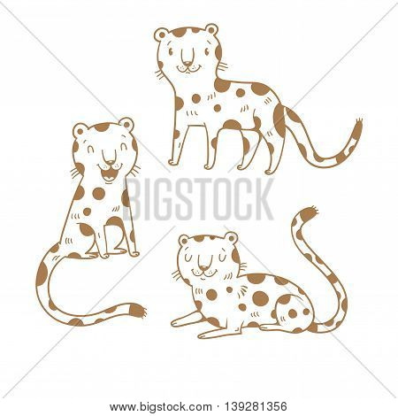 Cute cartoon leopards set. Three little wild kitten. Funny african animals. Children's illustration. Collection for kids. Vector contour image no fill.