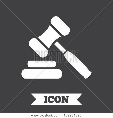 Auction hammer icon. Law judge gavel symbol. Graphic design element. Flat auction hammer symbol on dark background. Vector