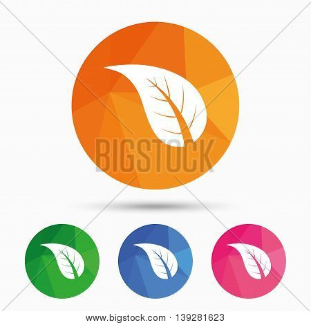 Leaf sign icon. Fresh natural product symbol. Triangular low poly button with flat icon. Vector