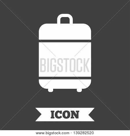 Travel luggage bag icon. Baggage symbol. Graphic design element. Flat luggage symbol on dark background. Vector