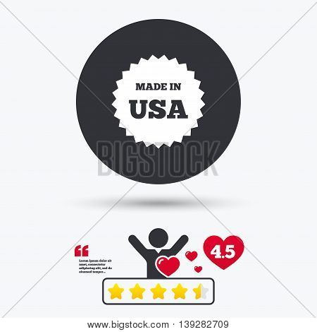 Made in the USA icon. Export production symbol. Product created in America sign. Star vote ranking. Person with heart. Quotes with message. Vector