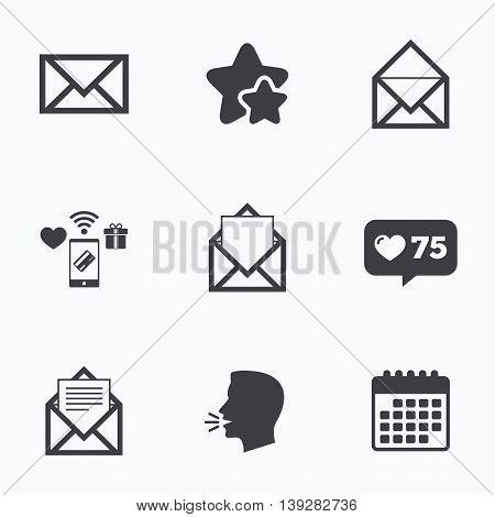 Mail envelope icons. Message document symbols. Post office letter signs. Flat talking head, calendar icons. Stars, like counter icons. Vector