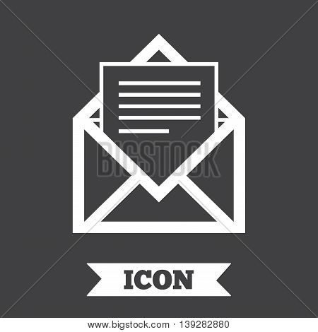 Mail icon. Envelope symbol. Message sign. Mail navigation button. Graphic design element. Flat mail symbol on dark background. Vector