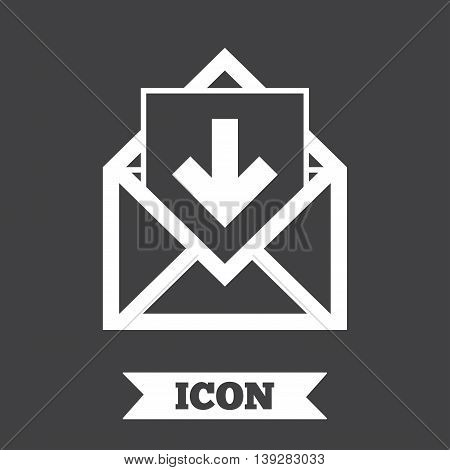 Mail icon. Envelope symbol. Inbox message sign. Mail navigation button. Graphic design element. Flat mail message symbol on dark background. Vector