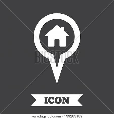 Map pointer house sign icon. Home location marker symbol. Graphic design element. Flat map pointer symbol on dark background. Vector