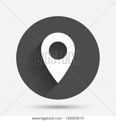 Map pointer icon. GPS location symbol. Circle flat button with shadow. Vector