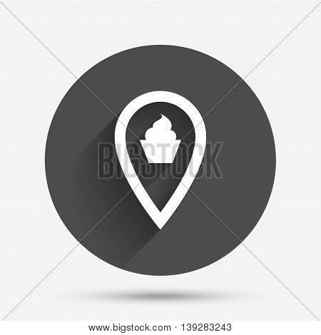 Map pointer food sign icon. Restaurant location marker symbol. Circle flat button with shadow. Vector