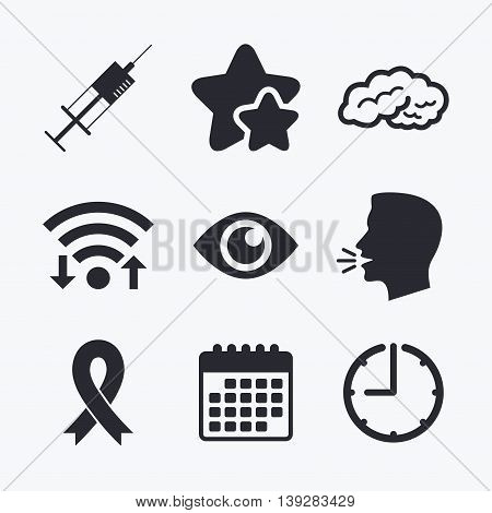 Medicine icons. Syringe, eye, brain and ribbon signs. Breast cancer awareness symbol. Human intelligent smart mind. Wifi internet, favorite stars, calendar and clock. Talking head. Vector