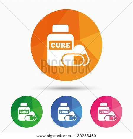 Medical pills bottle sign icon. Pharmacy medicine drugs symbol. Triangular low poly button with flat icon. Vector