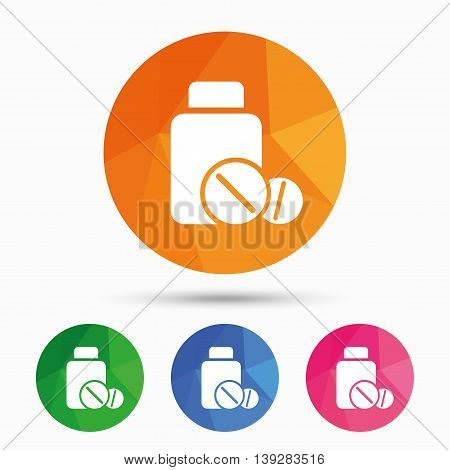 Medical tablets bottle sign icon. Pharmacy medicine drugs symbol. Triangular low poly button with flat icon. Vector