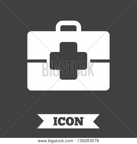 Medical case sign icon. Doctor symbol. Graphic design element. Flat medical case symbol on dark background. Vector