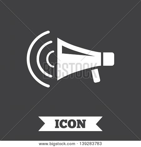 Megaphone sign icon. Loudspeaker strike symbol. Graphic design element. Flat loudspeaker symbol on dark background. Vector