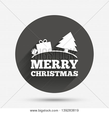 Merry christmas gift sign icon. Present and tree symbol. Circle flat button with shadow. Vector