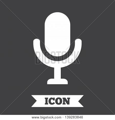 Microphone icon. Speaker symbol. Live music sign. Graphic design element. Flat microphone symbol on dark background. Vector