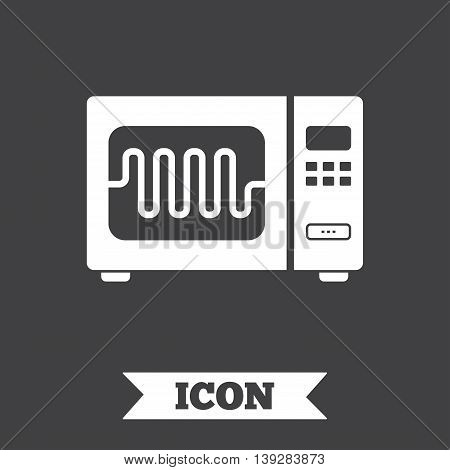 Microwave oven sign icon. Kitchen electric stove symbol. Graphic design element. Flat microwave symbol on dark background. Vector