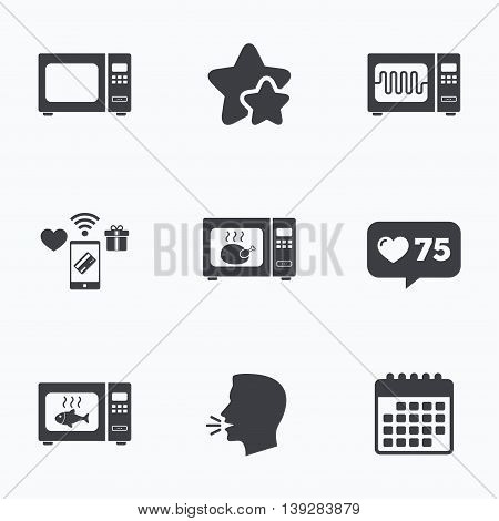Microwave oven icons. Cook in electric stove symbols. Grill chicken and fish signs. Flat talking head, calendar icons. Stars, like counter icons. Vector