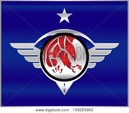 Eagle. Eagle patriot on the shiny metallic winged shield.